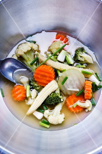 Thai soup with fresh vegetables