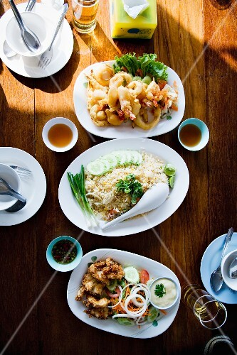 Three Thai dishes on a table