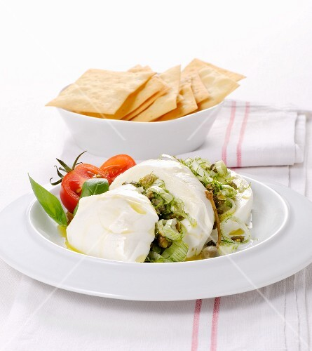 Buffalo mozzarella with caper pesto