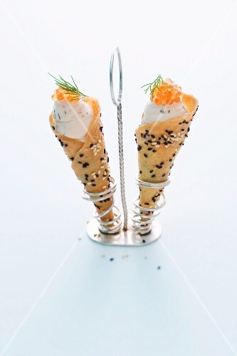 Salmon cream cheese in cones