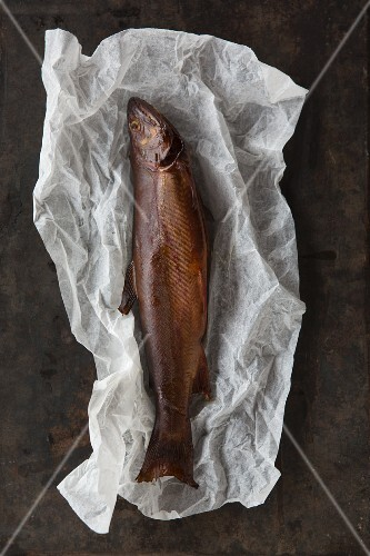Smoked trout on a sheet of paper
