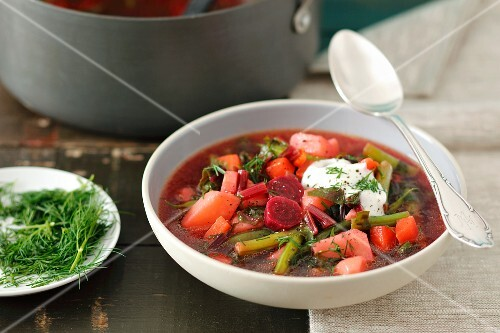 Minestrone with young beetroot, green beans, potatoes and a dollop of cream