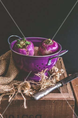 Turnips in a purple colander