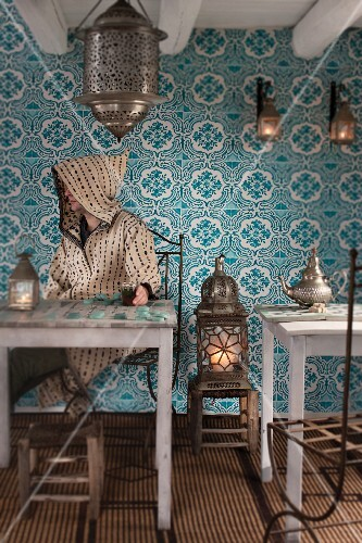 A man drinking peppermint tea in a cafe in Marrakesh (Morocco)