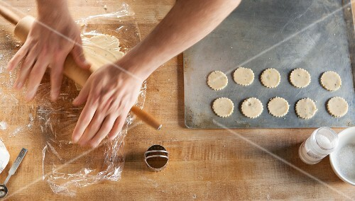 Butter biscuits being made