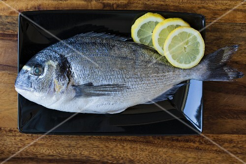 Seabream with lemon slices on a black plate (ingredients for seabream in a salt crust)