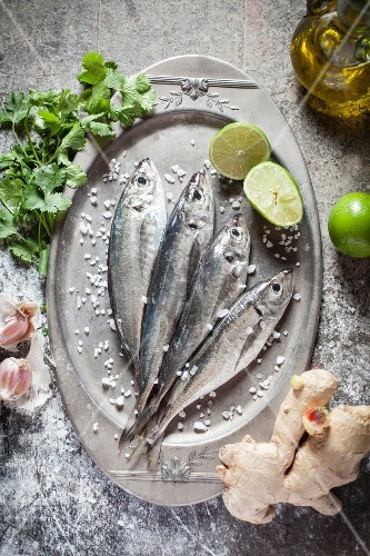 Raw sardines on a silver tray with ingredients