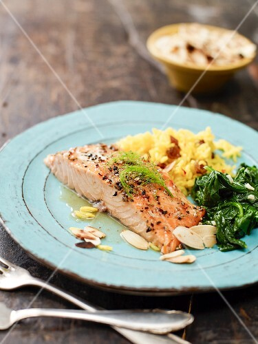Glazed salmon with saffron rice and spinach