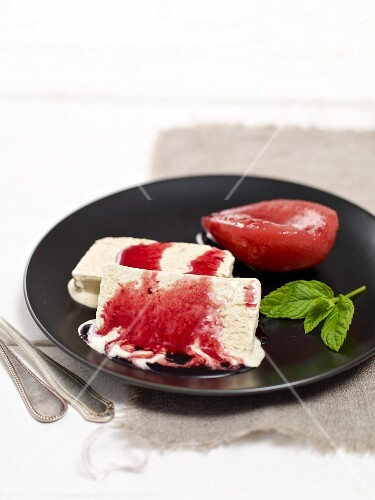 Cinnamon parfait with poached red wine pears