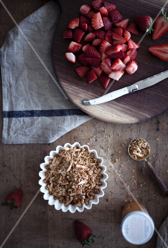 Ingredients for strawberry parfait with almond granola