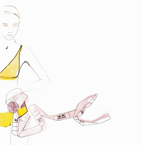 A woman wearing underwear holding a tape measure (illustration)