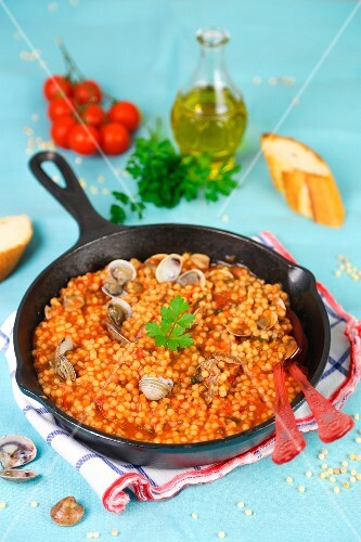 Fregola with mussels (ball-shaped Sardinian pasta)