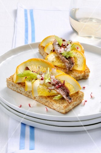 Crostini with anchovies and oranges