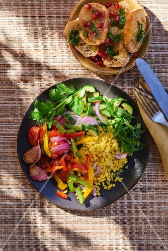 Bulgur salad with peppers, onions and garlic