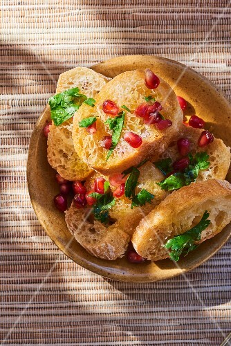 Olive oil bread with pomegranate seeds