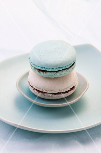 White and turquoise macaroons