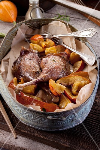 Roast goose legs with pumpkin
