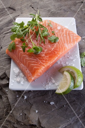 Raw salmon fillet with herbs, salt and lime
