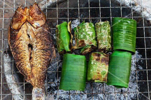 Grilled fish and stuffed banana leaves, Luang Prabang, Laos