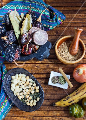 Ingredients for making mole (Mexican sauce)