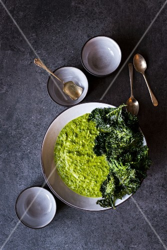 Kale soup with kale chips