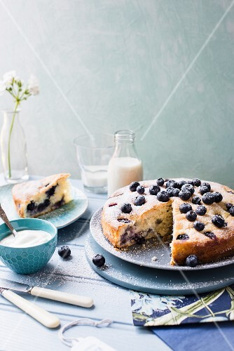 Sliced blueberry cake with yoghurt