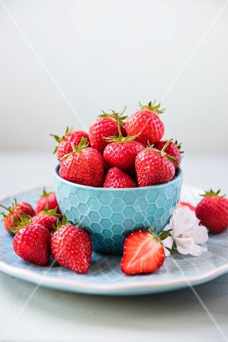 Fresh Strawberries in a White Dish