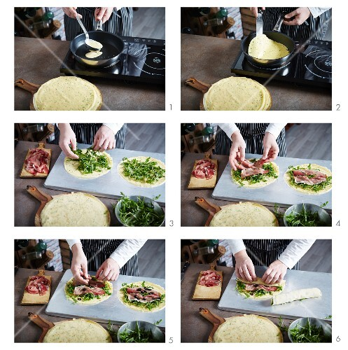 Crêpes filled with ham and rocket being made