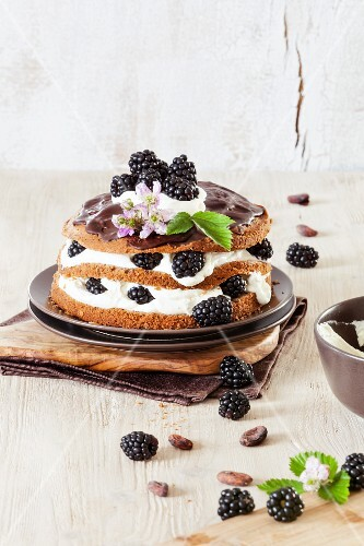 A layered blackberry and chocolate cake