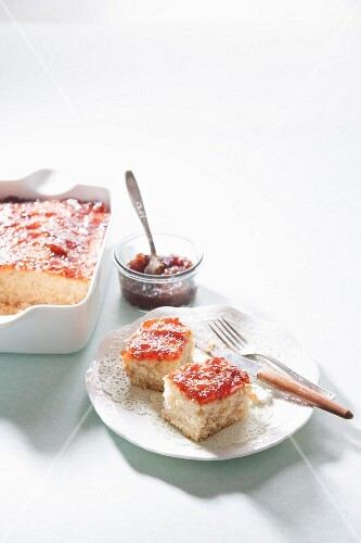 Coconut cake with jam