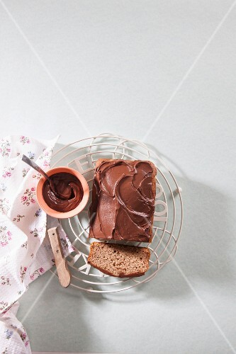 Vegan chocolate cake on a wire rack