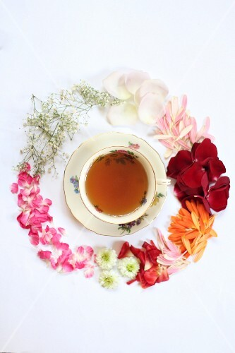 A cup of tea surrounded by various flowers (seen from above)