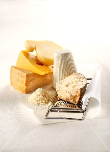 Five grateable hard cheeses, grated cheese and a cheese grater