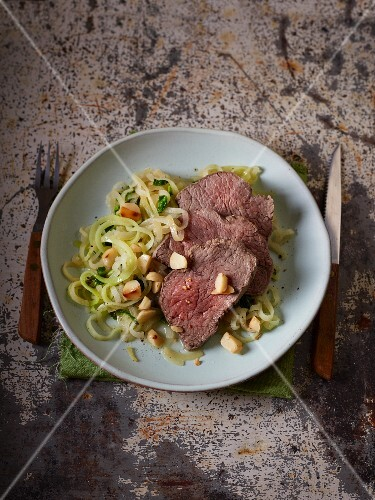 Poached beef fillet with kale and kohlrabi noodles