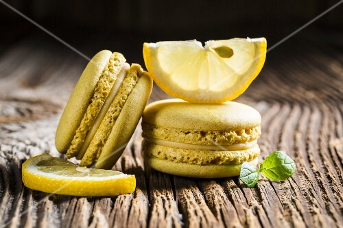 Lemon macaroons on a wooden table