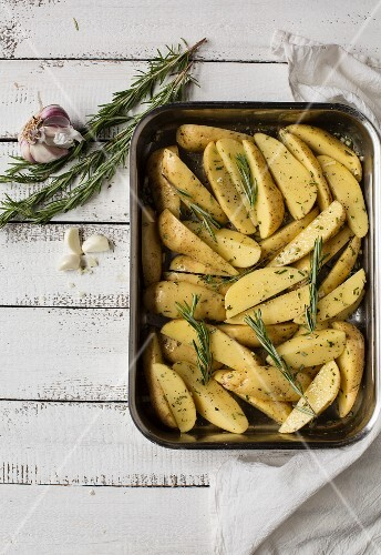 Rosemary potatoes ready to roast