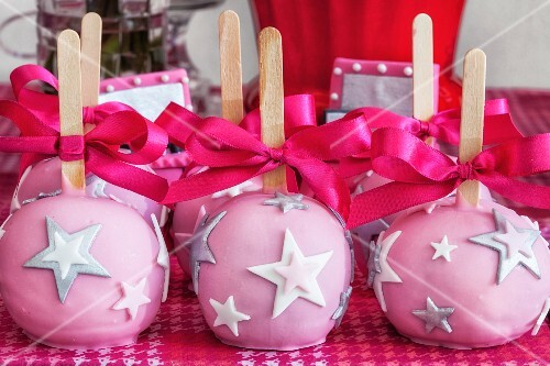 Pink cake pops decorated with stars