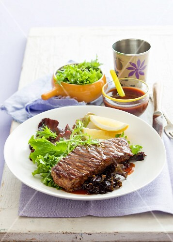 Beef steak with barbecue sauce