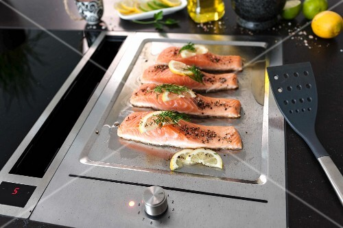 Salmon fillet with dill and lemon on a stainless steel grill platter
