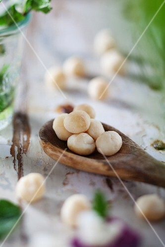 Macadamia nuts on a wooden spoon