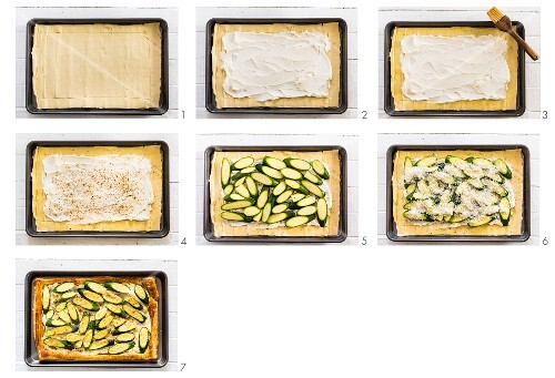 Courgette and labneh tart with dukkah being made