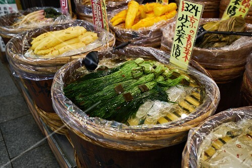 Vegetables at Nishiki market in Kyoto, Japan