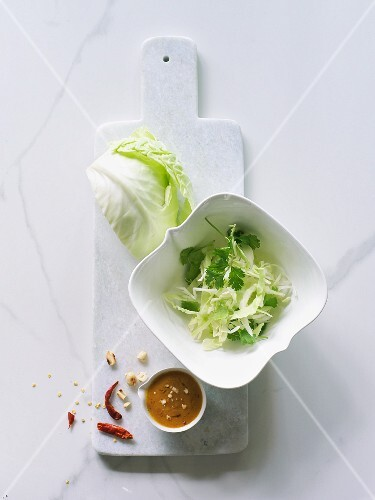 Ingredients for cabbage salad with peanut sauce (seen from above)