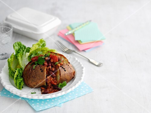 A jacket potato with chilli