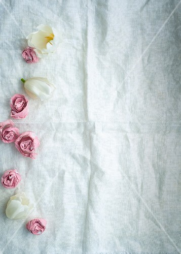 Homemade paper roses as decoration