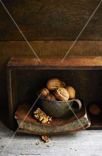 Walnuts in a tin cup on an old book