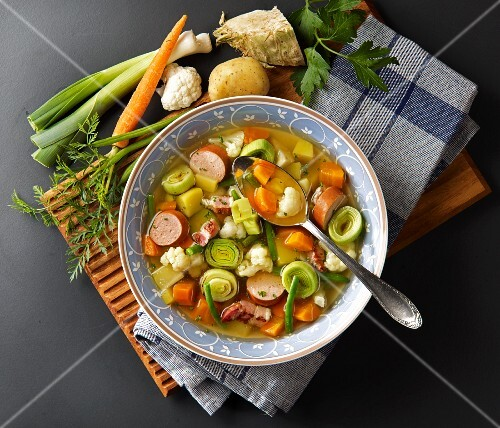 Vegetable stew with sausage and bacon (seen above)