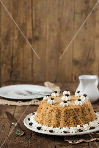 Chiffon cake with coffee beans
