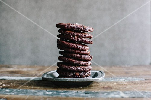 Chocolate biscuits, stacked