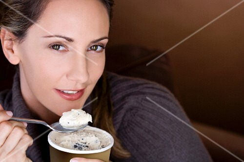A woman eating ice cream